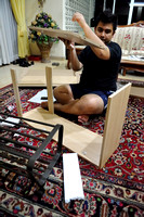 Haniff making a shoe rack