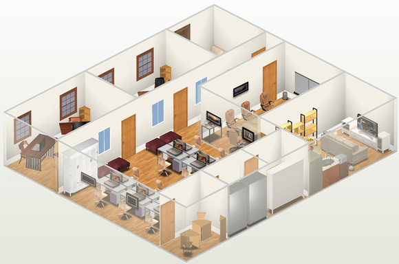 3D Animation Studio Office Floor Plan