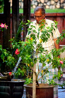 Hussien Wahab watering the plants